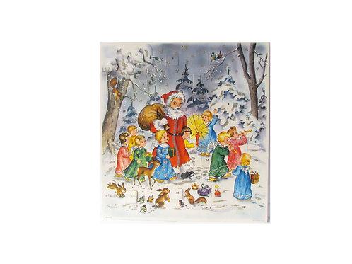 Joulukalenteri -60 luvulta, joulupukki ja enkelit. Hilekoriste