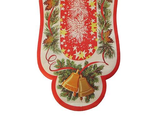 Vanha joulupaperi kaitaliina -50 luvulta. Joulukellot ja kävyt