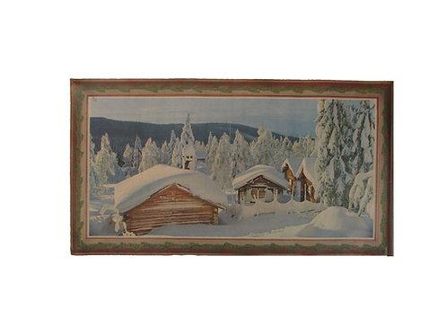 Joulupaperitaulu, lumiset mökit metsässä