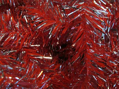 Vanhaa joulukuusen punosnauha, punainen/hopea