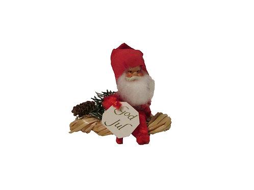 Vanha joulukoriste, tonttu olkiletinpäällä. 12cm