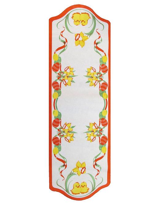 Vanha pääsiäispaperi kaitaliina -50 luvulta. Tiput ja kukkakimppu