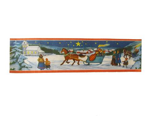 Joulupaperitaulu, kirkkomatka, hevonen ja reki.