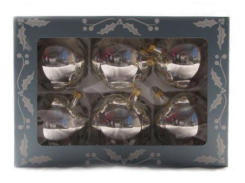 Lasipallot, joulukuusen koristeet, hopeanväriset