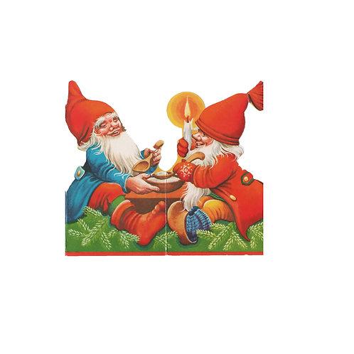 Tontturivi, tonttuhaitari, vanha tonttujono, tontut istuu joulupuuroa syöden