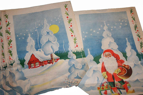 Joulu paperipussi -40 luvulta. Tonttu, kelkka ja talo