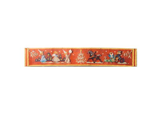 Joulupaperitaulu, enkelilapset kulkueessa, koristeltu musta hevonen ja reki