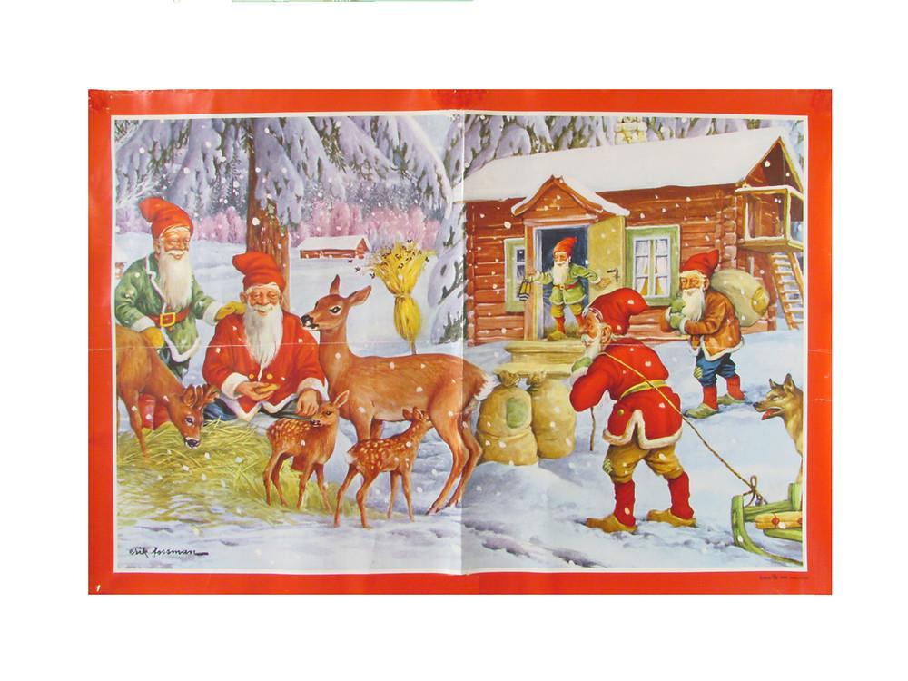 Joulupaperitaulu tontut ja metsän eläimet pihapiirissä