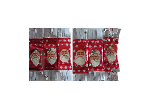 Vanhoja joulukuusen karamellejä 6kpl. Kiiltokuva, joulupukin pää.