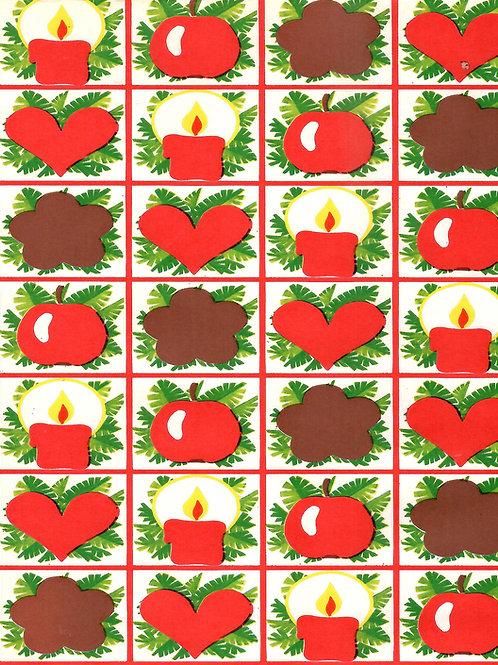 Joulupaperia -70 luvulta. Piparit, omena, kynttilät / Tule Joulua...