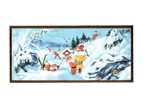 Vanha joulupaperitaulu. Joulupukki ja kauralyhde