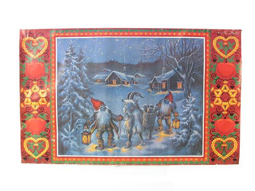 Joulupaperitaulu, aattoilta. Joulutontut, vuohi ja lahjakori