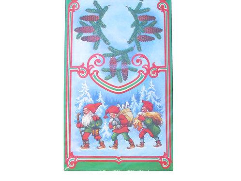 Vanha joulupaperi kaitaliina tontut ja havunoksat
