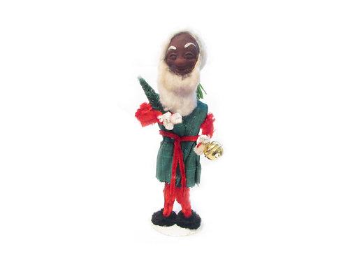Vanha joulupukki, joulutonttu, tonttu. Kuusenoksa ja tiuku