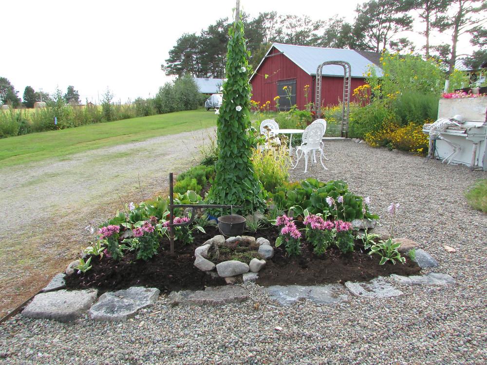 Valurautapata, puutarhaideat, kierrätys puutarhassa, istutukset, heinäseiväs,