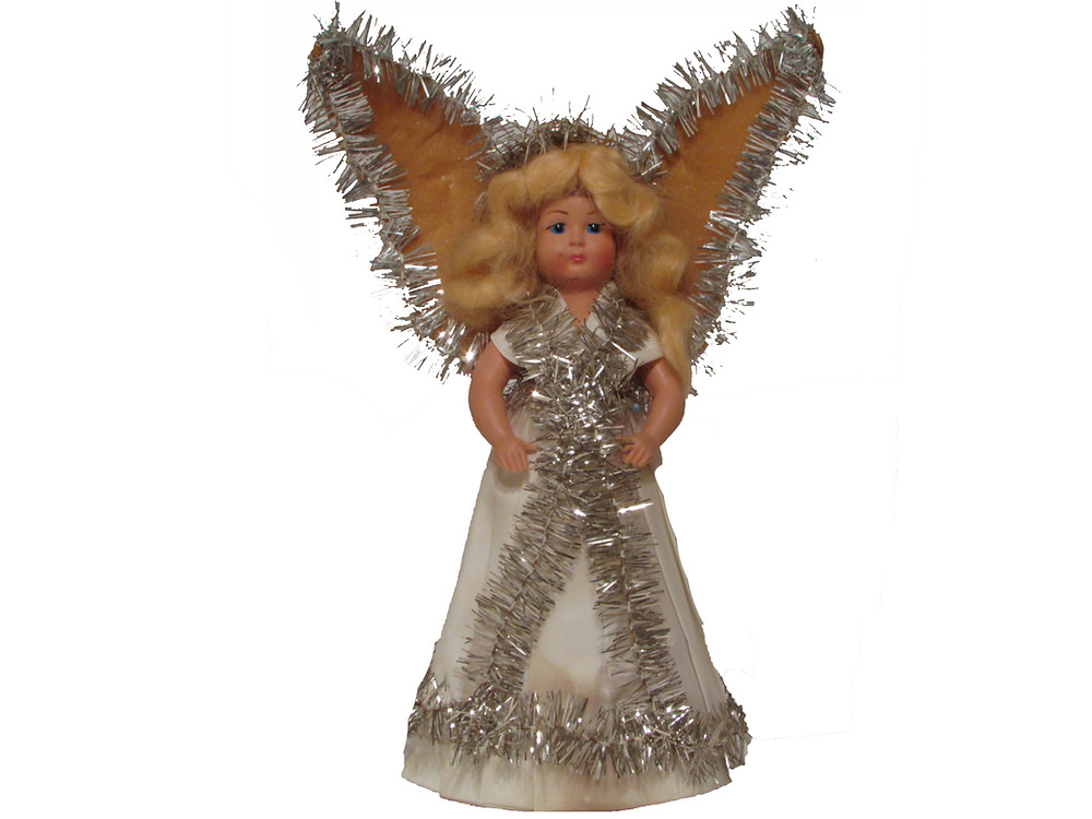 Jouluenkeli, joulukoriste, vanha enkelikoriste, hopeapunos, enkelin siivet, enkelin mekko