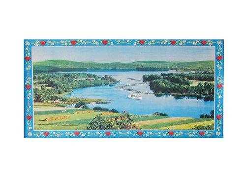 Vanha paperitaulu -60 luvulta, järvimaisema