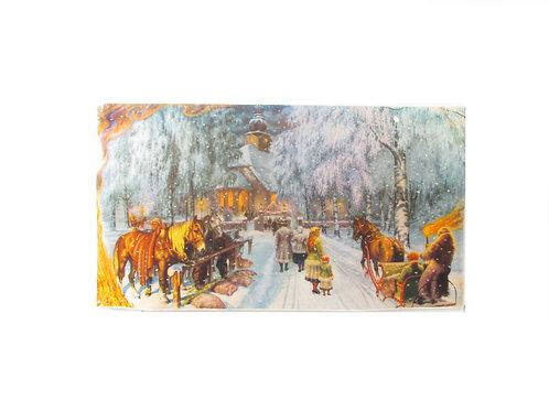 Joulupaperitaulu, kirkkomatka vanha paperitaulu, joulukoriste