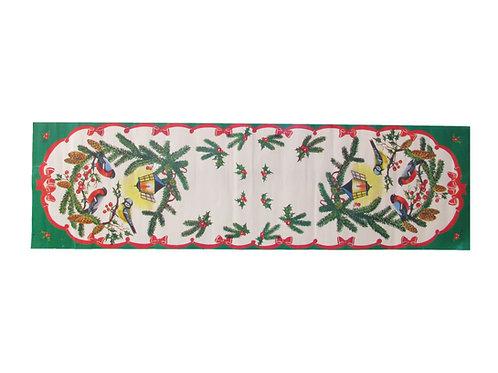 Joulupaperi kaitaliina, punarinta, talitiainen, pihlajanmarjat ja havunoksat