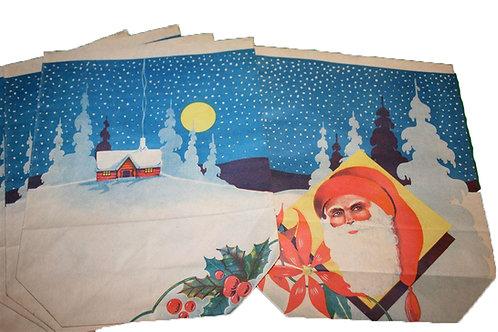 Iso joulupaperipussi -40 luvulta. Joulupukki ja tähtitaivas