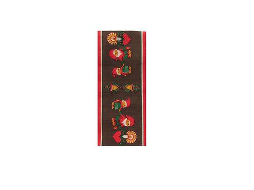 Tampellan vanha joululiina, tontut ja joulukellot.  18cm x 128cm
