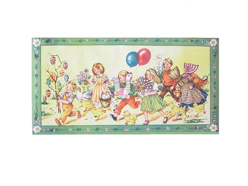 Vanha pääsiäispaperi taulu -50 luvulta. Paletti. Iloiset lapset