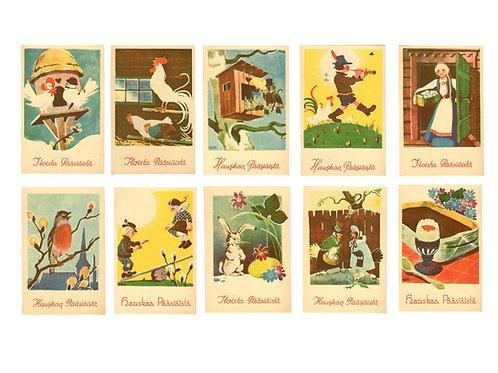Vanhoja pääsiäiskortteja -50 luvulta, antiikkikortit, vintage pääsiäinen