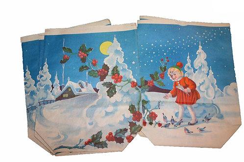 Joulu paperipussi -40 luvulta. Tyttö, linnut ja talo
