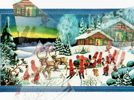 Vanhat joulukoristeet - joulupaperitaulut