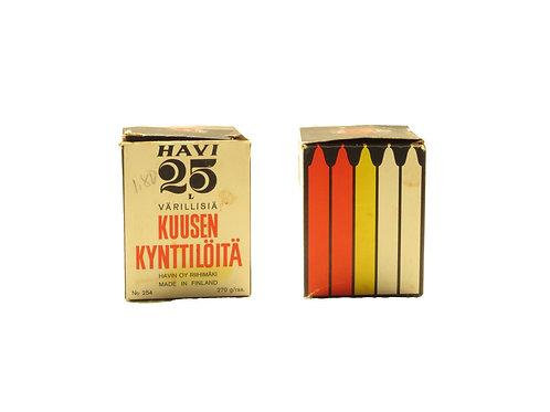 Kynttilät, värilliset Havin joulukuusen kynttilät