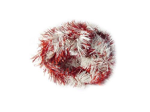 Vanha joulukuusen koriste, punosnauha, punainen/valkoinen