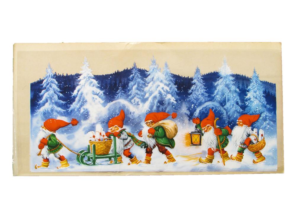 Joulupaperitaulu, vanha joulutaulu, joulukoriste, ikkunakoriste, vanha joulu, joulutonttu