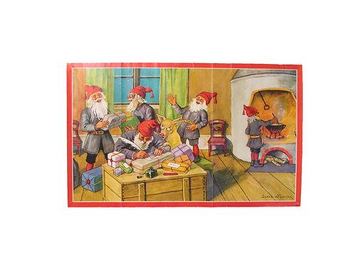 Joulupaperitaulu, tonttu-ukot paketoivat lahjoja. Jenny Nyström