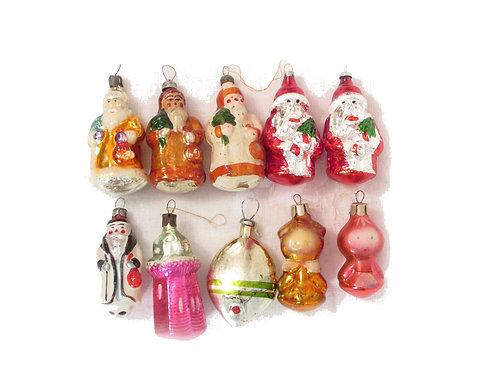 Harvinaiset joulupukki lasikoristeet, joulukuuseen