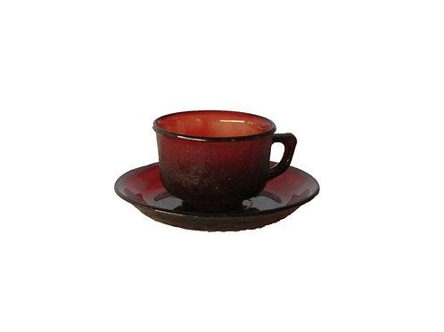 Retro kahvikupit, punaiset, lasia -70 luvulta