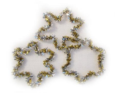 Antiikkia, 3 joulukuusenkoristetta. Kulta/hopea kukka