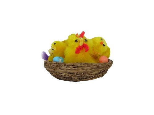 Vanha pääsiäiskoriste - Kanaäiti hautomassa