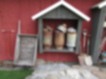 Old dairy snacks, milk dips, old shovels, cart, milk dock, milk strainer, garden, garden decoration