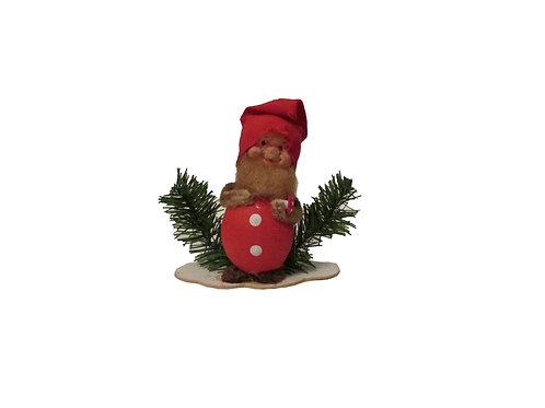 Vanha joulukoriste, tonttu ja kärpässieni. 14cm