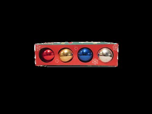Vanhat joulukuusen koristepallot eri väreissä