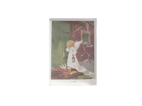Martta Wendelin joulupaperitaulu, jouluenkeli ovella lyhty kädessä, portailla pärekori