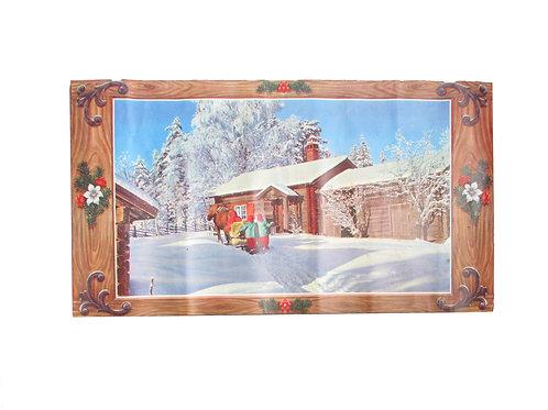 Vanha joulupaperitaulu -50 luvulta. Vanha pihapiiri, tontut ja hevonen