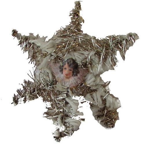Antiikki joulukuusenkoriste, kiiltokuvaenkeli metallilangassa