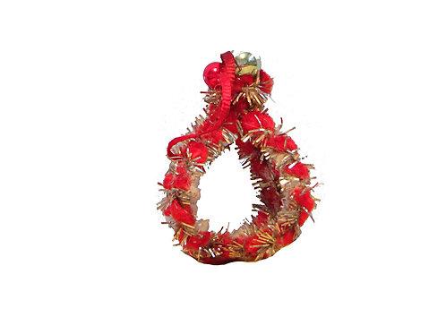 Vanha joulukuusenkoriste, punainen ja hopealanka