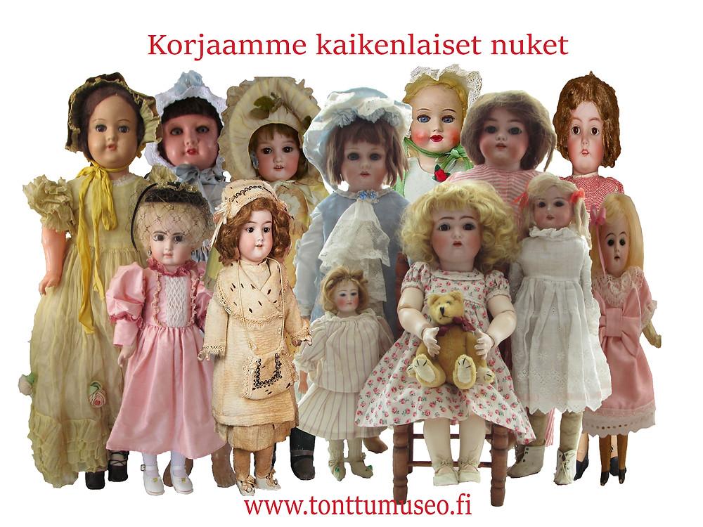 Nuken korjaus, nuken korjaaja, vanha nalle, vanha nukke, antiikkinukke, Marttanukke, Suomalainen nukke, Jopi nalle, Steiff nalle, Knickerbocker Teddy bear, teddy, bear, Saksalainen nukke, Ranskalainen nukke, lelumuseo, peltilelu,