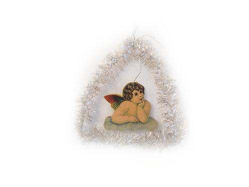 Joulukuusen koriste, antiikkikoriste, kiiltokuvaenkeli