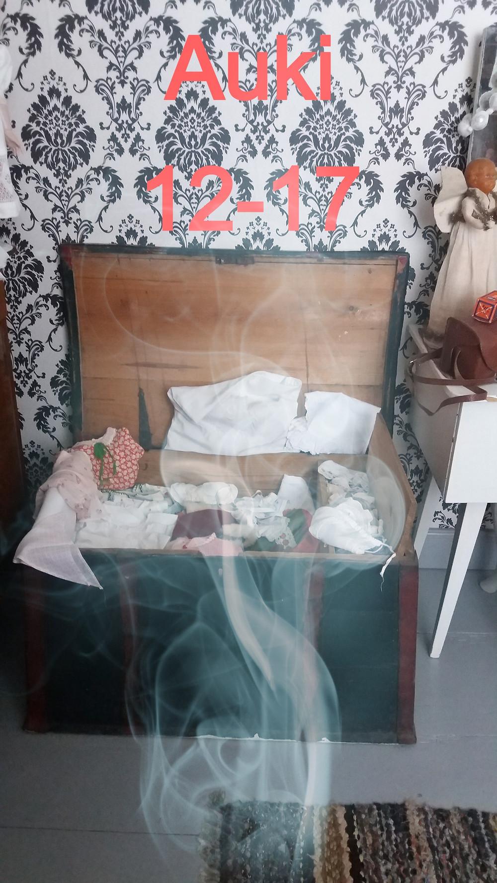 Kapioarkku, tasakantinen arkku, pöytäarkku, huonekalu, kirstu, vaatteiden säilytys, sisustus