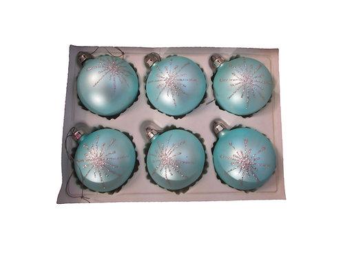 Vanhoja joulukuusen koristepalloja, väri vaalean sininen