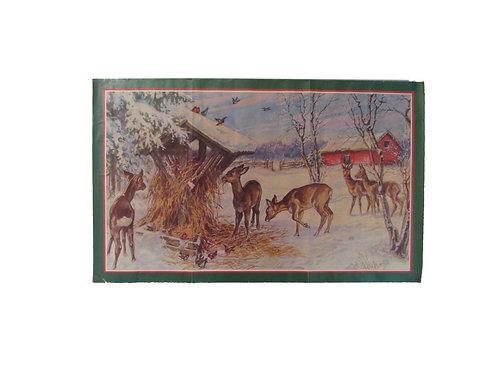 Joulupaperitaulu, metsän eläimet ruokintapaikalla. Kurt Nyström