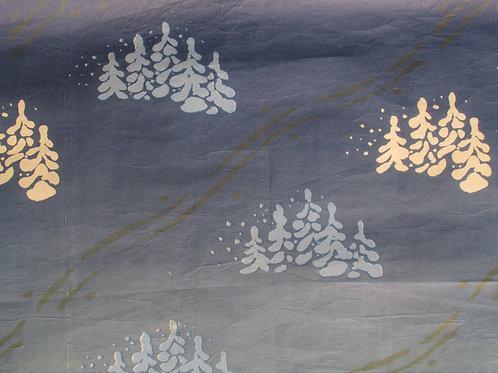 Vanha joulupaperi, lumiset puut